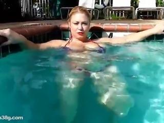 BBW Superstar Samantha 38G Plays with Big Tits in Pool