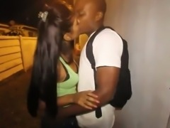 Dark skinned bitch with a sidelong glance sucks my buddy's strong BBC
