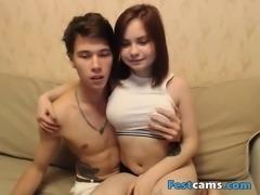 Redhead and her boyfriend having fun at web