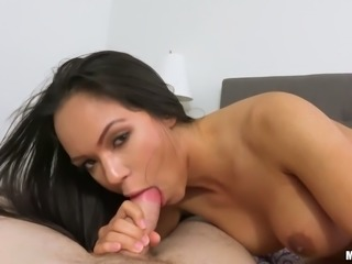 Jaw dropping busty brunette Emily Mena enjoys sucking and fucking big dick