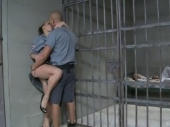 Babe in uniform craves to be penetrated by two fat boners