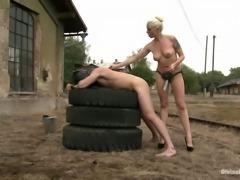 luscious blonde dominates her man