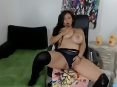 Webcam session of a pretty brunette with a massive pair of tits