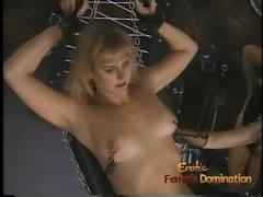 Seductive blonde rookie gets whipped by two horny latex-clad