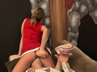 Hot cock-riding session with a gorgeous cheerleader
