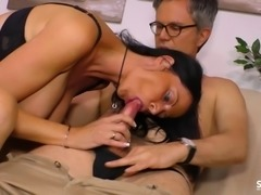 Busty milf gets cum all over her tits after riding him