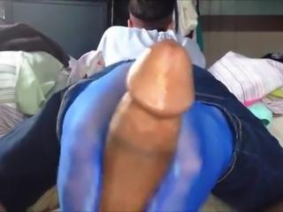 footjob in blue nylon socks