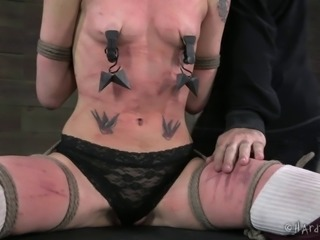 Naughty bitch gets restrained and has her twat pleasured with toys
