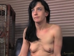 Woman with small tits tied up and treated like a slave by a fellow