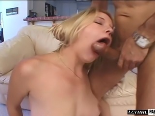 Blonde worked on hardcore doggystyle then getting facial cumshot