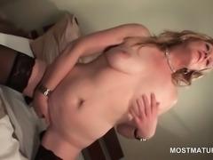 Nasty mature finger teasing her juicy twat
