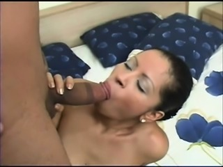 Stacked Latina in sexy black lingerie has a hard cock banging her slit