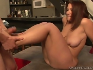 Misty Snow asks horny bartender to lick her sweet fanny