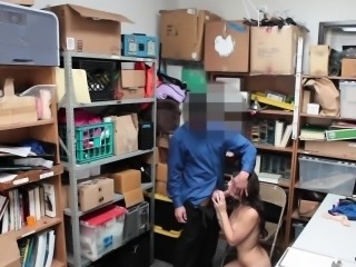 Hot brunette thief Taylor May got punished