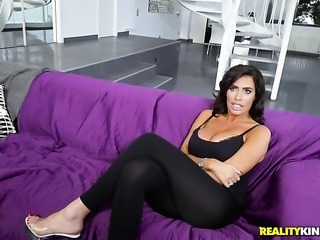 Horny tramp Emilio Ardana with huge knockers and clean beaver has fire in her eyes as she milks cum loaded schlong of her bang buddy