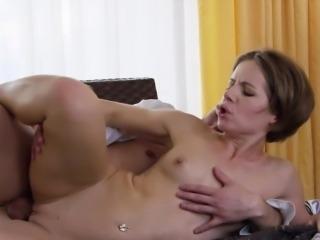 Tight brunette mom sucks and fucks