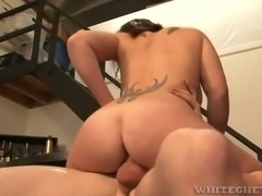 Curvy redhead Misty Snow gets it on with a horny bartender