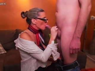 Horny mature Milf fucking and sucking young boy
