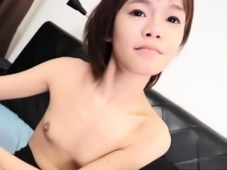 Sweet ladyboy toys her ass in solo session