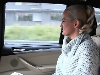 Busty Euro blonde cheating husband in fake taxi