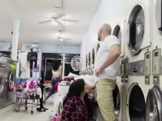 Slutty perv Annika Eve fucked in the laundry area