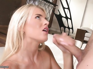 Blonde gives pleasure to herself with the help of toy