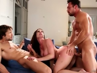 Extremely saucy brunette MILF Kendra Lust enjoys fancy 3 some with kinky guys on blue sofa