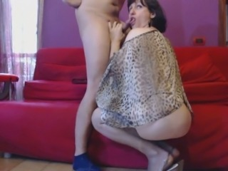 Lusty short haired shemale got BJ from a dirty masked buddy