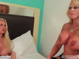 40-year-old blondes with big boobs have lesbian sex