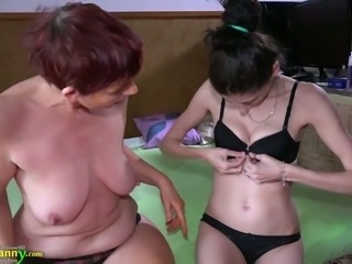 Pale skin young brunette and her mature lesbian partner
