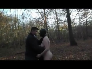 Slut Wife in Forest Gangbang Full Rubber Hooded
