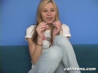 A super cute amateur teen babe doing a video interview