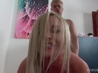 Porno Dan tried to shove his dick as deep as possible in this blonde's pussy from behind, while another babe was masturbating nearby. He switched in another position and Rachele Richey was riding his dick, while Ayda Swinger was sucking his balls. Sounds wonderful! They licked his cum load off of his belly