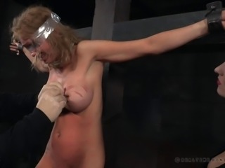 Cowgirl in bondage screaming when spanked in BDSM porn