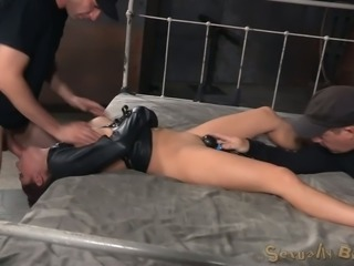 Sexy white hottie in straightjacket restrained and facefucked