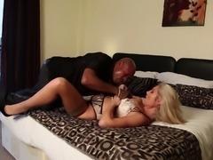 Eatable blonde in bra banging on huge dick in interracial porn