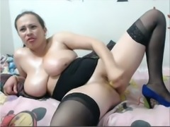 Busty whorable BBW in nylon stockings was mouthfucked on webcam