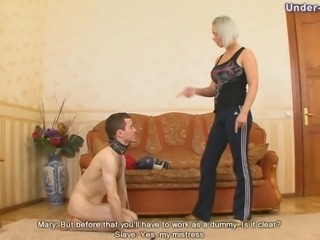 Boxing mistress hits her submissive guy and makes him suffer