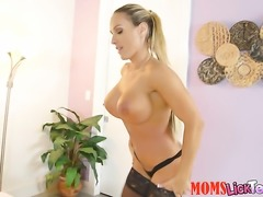 Blonde Tegan James with massive boobs and shaved twat spends her sexual...