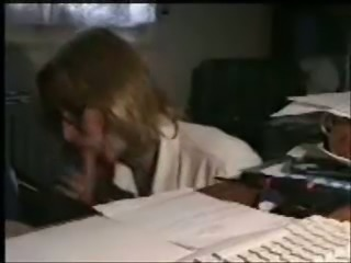 Blond haired nerdy secretary provided my buddy with a blowjob