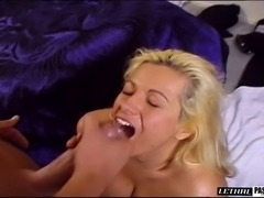 Shaved pussy blonde banging on huge cock while yelling