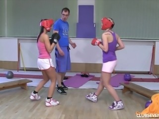 Lucy and Kari love boxing but also the vigorous cock riding