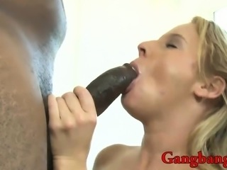 Sexy bitch DPed by throbbing black cocks on the couch