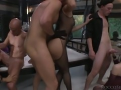Dark haired spoiled cutie Hunter Leone takes part in nasty orgy session