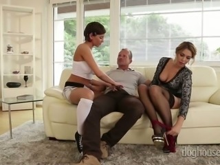 Pleasure seeking seductress Anna Rose participates in a nice threesome