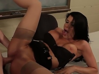 Smoking hot young black haired teacher Romi Rain with big hooters and tight ass in