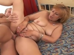 Sex hungry granny gets fucked and creampied in the bedroom