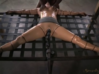 Girl sucks a monster cock while her pussy is being ravished by a toy