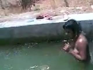 Horny Indian guys playing with my tits and pussy in a pool
