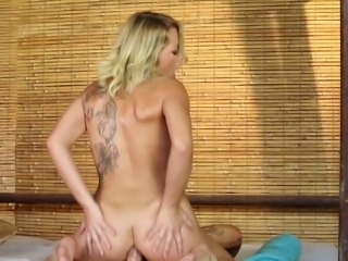 Shaved pussy blonde squirting while her anal is fucked